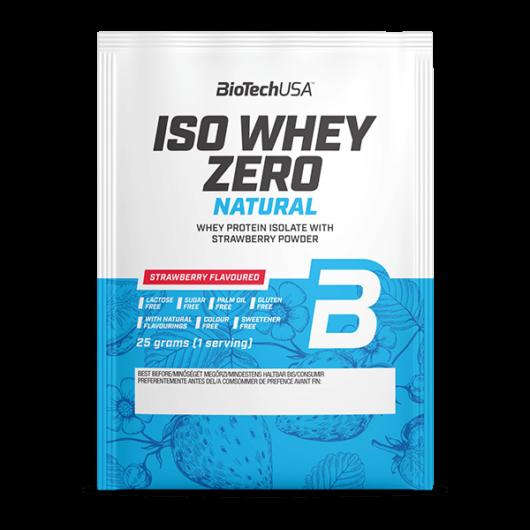 Iso Whey Zero Natural tejsavófehérje izolátum alapú italpor - 25 g eper ízű 10 db/csomag